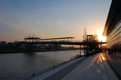 Wolfsburg, Germany. Autostadt and Mittelland Canal at sunset in Wolfsburg, Germany Royalty Free Stock Photography