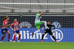 Female soccer player, Alexandra Popp, in action during UEFA Women`s Champions League. WOLFSBURG, GERMANY October 11, 2017. Female soccer player, Alexandra Popp stock image