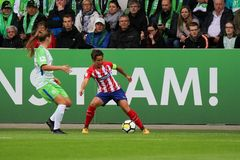 Female soccer player, Sonia Bermudez, in action during UEFA Women`s Champions League. WOLFSBURG, GERMANY October 11, 2017. Female soccer player, Sonia Bermudez royalty free stock photo