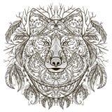 Wolfshoofd met stammen Azteeks ornament in bohostijl Zwarte decoratie Royalty-vrije Stock Foto's