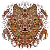 Wolfshoofd met stammen Azteeks ornament in bohostijl Zwarte decoratie Stock Afbeeldingen