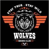 Wolfshoofd voor embleem, Amerikaans symbool, eenvoudige illustratie, het embleem van het sportteam, ontwerpelementen Royalty-vrije Stock Foto's