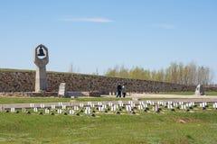 wolgagrad Russland - 16. April 2017 Militärerinnerungssowjet- und Deutschkirchhof starb im Kampf von Stalingrad im Dorf Ro Stockfotografie