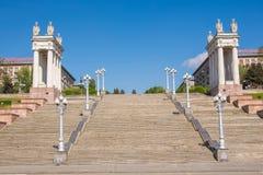 wolgagrad Russland Zentrales Kai des Treppenhauses von Wolgograd-Interesse der 62. Armee Lizenzfreies Stockbild