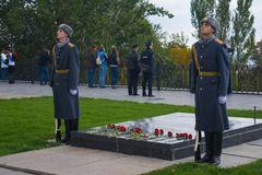 "WOLGOGRAD-†""am 15. Oktober: Militärparade Lizenzfreies Stockfoto"
