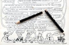 Wolinski漫画和残破的铅笔 图库摄影