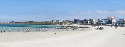 Woljeongri海滩和咖啡馆街道 免版税库存照片