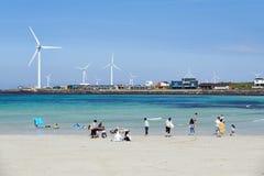Woljeongri海滩在Gujwa-eup,济州 库存照片