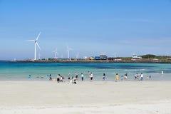 Woljeongri海滩在Gujwa-eup,济州 图库摄影