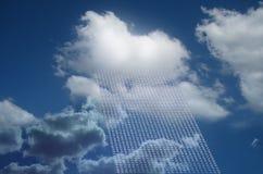 Wolk als wolk gegevensverwerking stock foto's