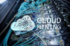 Wolk de gegevensverwerking, de gegevens of cryptocurrency Bitcoin, Ethereum-mijnbouw in gegevens centreren De achtergrond van de  stock afbeelding