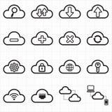 Wolk de pictogrammen van het gegevensverwerkingsnetwerk Stock Foto's