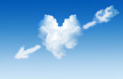 Wolk in de vorm van hart met een pijl Stock Foto's