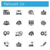 Wolk die, gegevenstransmissie van grijze de pictogrammenreeks van Internet technologyflat van 16 gegevens verwerken stock illustratie