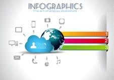 Wolk die Infographic conceptenachtergrond gegevens verwerkt Stock Afbeeldingen