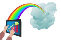 Wolk die met tabletPC gegevens verwerkt Stock Afbeelding