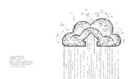 Wolk die online opslag lage poly gegevens verwerken Veelhoekige toekomstige moderne Internet-bedrijfstechnologie Witte grijze zwa royalty-vrije illustratie