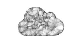 Wolk die, IT symbool van de wolkentechnologieën gegevens verwerken Stock Afbeeldingen