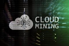 Wolk gegevensverwerking, gegevens of cryptocurrency ( Bitcoin, Ethereum) mijnbouw in gegevenscentrum De achtergrond van de server royalty-vrije stock foto's