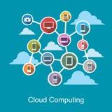 Wolk gegevensverwerking of het concept van de gedistribueerd systeemtechnologie Stock Afbeelding