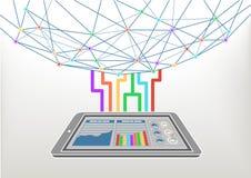 Wolk gegevensverwerking verbonden met het World Wide Web/Internet Vector illustratieachtergrond Stock Afbeeldingen