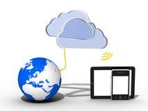 Wolk gegevensverwerkings - smartphone - tablet Royalty-vrije Stock Afbeeldingen