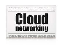 Wolk gegevensverwerkingsconcept: de Wolkenvoorzien van een netwerk van de krantenkrantekop Royalty-vrije Stock Afbeelding