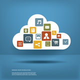 Wolk gegevensverwerkingsconcept met Webpictogrammen geplaatst vlak ontwerp Royalty-vrije Illustratie