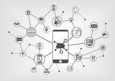 Wolk gegevensverwerkingsconcept voor aangesloten mobiele apparaten Stock Foto's