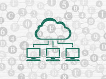 Wolk gegevensverwerkingsconcept: Wolkennetwerk op muur Stock Afbeelding