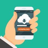 Wolk gegevensverwerkingsdownload app op smartphone - synchronisatie Stock Afbeeldingen