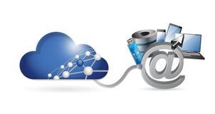 wolk gegevensverwerkingsmedia technologienetwerk Stock Foto's