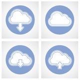 Wolk gegevensverwerkingspictogram - online opslag Stock Afbeeldingen
