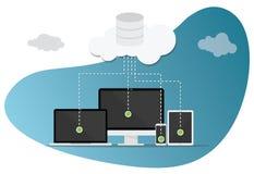 Wolk gegevensverwerkingstechnologie met diverse apparaten en moderne stijlbel royalty-vrije illustratie