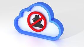 Wolk gegevensverwerkingsveiligheid geen hakkerteken op wit stock illustratie