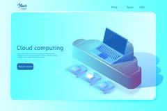 Wolk gegevensverwerkingsWeb-pagina malplaatje Isometrische Vectorillustratie Abstract ontwerpconcept Royalty-vrije Illustratie