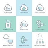 Wolk geplaatste de pictogrammen van de gegevensverwerkingslijn Vlak Ontwerp Royalty-vrije Stock Afbeeldingen