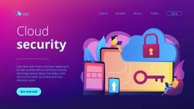 Wolk het concepten landende pagina van de gegevensverwerkingsveiligheid royalty-vrije stock afbeelding