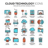 Wolk het omputing De technologie van Internet De online diensten Gegevens, informatiebeveiliging aansluting Het dunne pictogram v vector illustratie