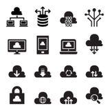 Wolk het pictogramreeks van het gegevensverwerkingsconcept Royalty-vrije Stock Foto's
