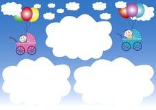 wolk-kaders en ballons royalty-vrije illustratie