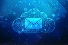 Wolk met e-mailsymbool op digitale achtergrond royalty-vrije stock fotografie