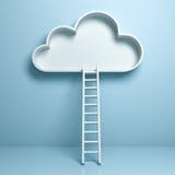 Wolk met ladder abstract concept op lichtblauwe pastelkleurachtergrond stock illustratie
