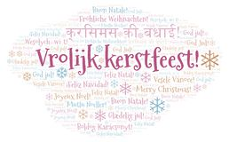 Wolk van het Vrolijk de meest kerstfeest woord - Vrolijke Kerstmis op Holland of Nederlandse taal en andere verschillende talen royalty-vrije illustratie