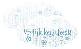 Wolk van het Vrolijk de meest kerstfeest woord - Vrolijke Kerstmis op Holland of Nederlandse taal en andere verschillende talen vector illustratie