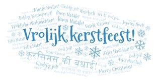 Wolk van het Vrolijk de meest kerstfeest woord - Vrolijke Kerstmis op Holland of Nederlandse taal en andere verschillende talen stock illustratie