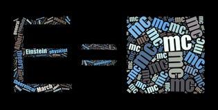 Wolke des Wort-E=mc2 auf Schwarzem Lizenzfreie Stockfotografie