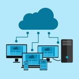 Wolke, die auf Geräten rechnet Stockbild