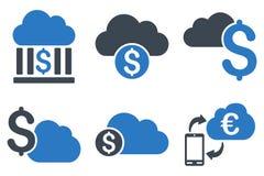 Wolke, die flache Glyph-Ikonen ein Bankkonto hat Lizenzfreies Stockbild