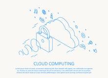 Wolke, die isometrische dünne Linie Design berechnet Lizenzfreies Stockfoto